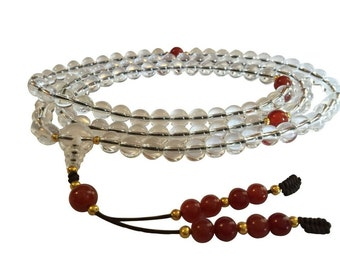 Tibetan Mala Dramatic Clear Quartz with Carnelian Guru Bead and Spacers for Meditation