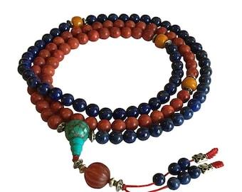 Tibetan Mala Lapis and Coral 108 Beads for Meditation