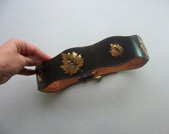 1940s black leather leaf studs novelty belt 1940s belt, 40s belt, novelty belt, Aaron Willet