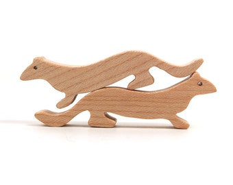 Wooden Toy Ermine Stoat Weasel Waldorf  Miniature Wood Noah's Ark Animals Zoo Woodland Play Set