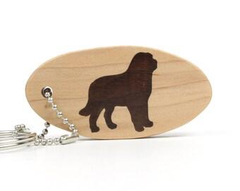 Saint Bernard Key Chain Wood Scroll Saw Dog Keychain Pet Key Ring Dog Accessories St. Bernard Key Fob Walnut Hand Cut