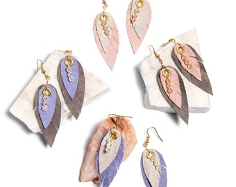 Leather Feather Earrings- Ready to Ship!