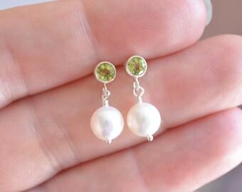 Child's Peridot Earrings, Genuine Gemstone, Real Pearl Dangles, Sterling Silver Ear Studs, Bezel Posts, August Birthstone Jewelry