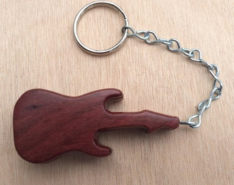 Guitar shape pick holder key chain with 2 picks