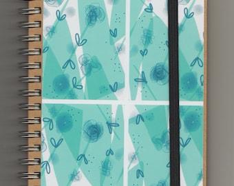 A6 Lined Spiral Notebook // Scandinavian Modern Journal //Kraft Recycled Paper //  Vegan Pocket Sketchbook