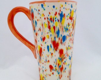 Colorful Ceramic Tall Latte Mug Orange - Hand Painted - Kiln Fired
