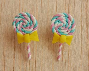 lollipop stud post earrings white, pastel pink & turquoise