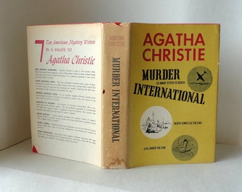 1965 Vintage Agatha Christie Book MURDER INTERNATIONAL Hardcover DustJacket Evil Under the Sun Death Comes as the End So Many Steps to Death