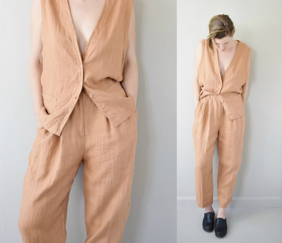 RESERVED Vintage 1980s Eileen Fisher Linen Vest And Trousers