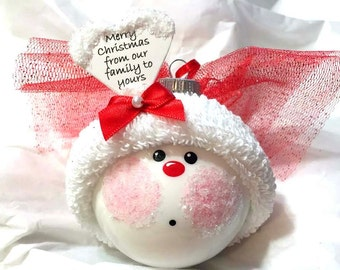 """Angel Christmas Ornaments Gift Red """"Merry Christmas...Family To Yours"""" Hand Painted Handmade Personalized Themed Townsend Custom Gifts - F"""