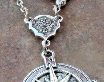 Compass Necklace Compass Pendant Bird Silver Travel North West  Guidance Necklace Best Friends Wedding Bridal Gift Photo Antique Steampunk