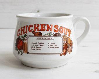 Vintage soup cup  - Kitchen mug recipe cook drink handle Large blue cooking kitchenware