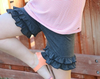 dark heathered gray knit double ruffle shorts shorties bloomers sizes 12m - 14 girls