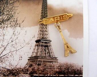 Vintage art deco Eiffel Tower Paris brooch