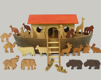 Noahs Ark Play Set, Wooden Noah's Ark Handmade Waldorf Toy for Children Boys and Girls Gift for Babtisms Barmitswa Montessori Biblical Story