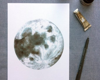 Moon watercolour print