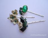 Vintage earrings hair slides - Emerald forest green lucite rhinestones foil gem flowers silver jeweled embellish decorative hair accessories