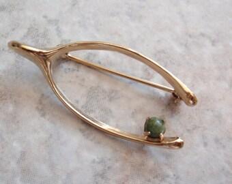 Jade Wishbone Brooch Pin Gold Filled Winard Vintage V0586