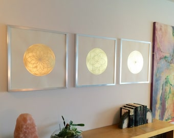 Illuminated Spirograph Flower of Life Set of 3 Illuminations gold leaf Illuminated Painting Tezhip Home Decor Wall Hanging