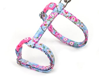 Floral Cat Harness - Spring Flowers on Blue - Large or Small Kitten Size