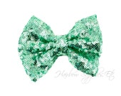 Aqua Large Sequin Bows 4 inch Bows - Bow Applique, Sequin Bow, Large Bows, Big Bows, Wholesale Bows, Sequin Bow Tie, Sequin Bow Headband
