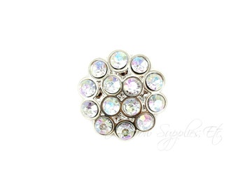 Fashionista Iridescent Rhinestone Buttons 21 mm Acrylic - Choose 1, 2, 5 or 10 Buttons - Hairbow Supplies, Etc.