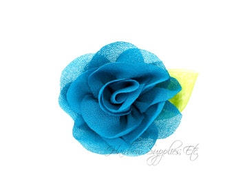 Teal Candlelight Rose 2 inch Chiffon Flowers, Chiffon Flower Headband, Hair Flowers, Hair Flower Clip, Flower Headband, Flower Headband