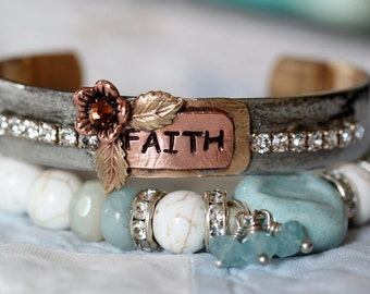 FAITH Cuff Bracelet, hand forged, boho jewelry, rustic country chic soldered cuff bracelet