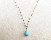 Hand-knotted Freshwater Pearl Turquoise Magnesite Gemstone Necklace, Adjustable Stainless Steel Clasp