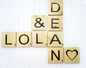 Scrabble Wall Tiles, Scrabble Letters, Scrabble Wall Art, Wall Letters, Wooden Letter Tiles, Large Game Tiles, Wedding Gift, Nursery Letters