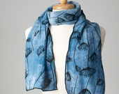 pale blue hand dyed and printed silk scarf with Queen Anne's lace