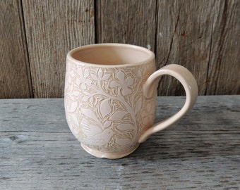 Large Cup, Handmade and Handcarved with Soft Pink Flowers and Birds
