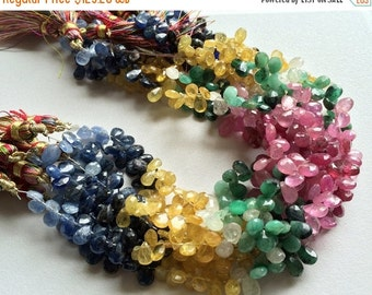50% ON SALE Multi Rainbow - Multi Gemstone, Emerald Beads, Sapphire Beads, Ruby Beads, Yellow Sapphire Faceted Pear Beads, 7x5mm Each, 40 Pc