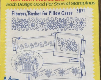 Aunt Martha's Iron On Transfers - Flowers/Basket for Pillow Cases - 3871