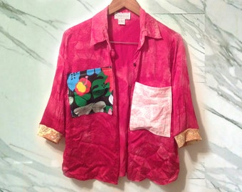 90s Red Silk Tie Dye Patchwork Upcycled Unisex Bold Pocket 3/4 Length Sleeve Shirt size Medium