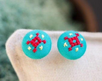 Tiny mint stud earrings - ethnic hand embroidery - e014
