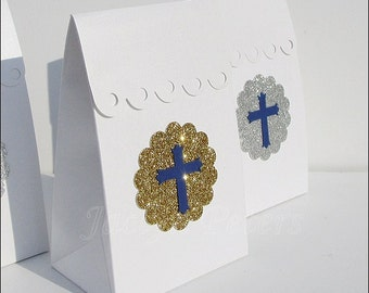 Boy's Baptism, First Communion, Party Favor Bags, Navy Or Lt Blue Cross, Silver Or Gold Glitter, Candy Box, Dessert Table Supply,Set Of 24