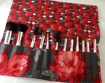 Makeup Brush Holder - Makeup Brush Roll - Makeup Brush Case - Makeup Brush Organizer - Riley Blake Desert Bloom Main in Grey and Red