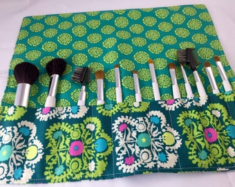 Makeup Brush Roll Organizer Holder - Amy Butler Dream Weaver Gypsy Embroidery in Lake - Ready to Ship