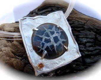 Septarian Pendant - Brown and Black Fossil and Reticulated Silver Necklace