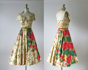 1950s dress / Heartbreak Hotel / 50s halter dress