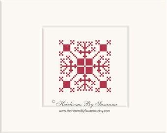Geometric Vintage Motif - Machine Cross Stitch - Machine Embroidery - Old World Design - Folk Motif - 4x4 - INSTANT Download - HBS-MOTIF-3