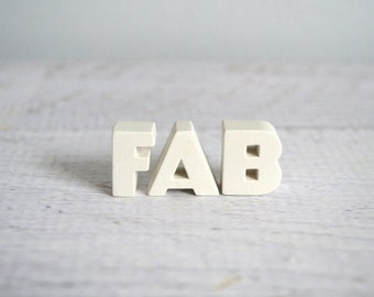 Vintage Pushpins, Bulletin Board Tacks, Word Art, White Ceramic Letters, Fab Push Pins