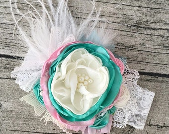 Mermaid tail flower headband cake smash headband cozette couture