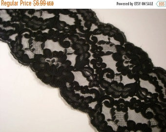 ON SALE SPECIAL--Black Floral Design Black Reimbroidered  Lace Trim--One Yard