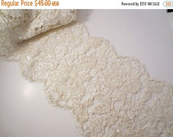 """ON SALE Ivory French Alencon Lace Trim with Pearls and Sequins-9""""--One Yard"""