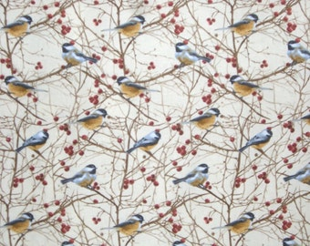 Chickadee Print Pure Cotton Fabric from Timeless Treasures--One Yard