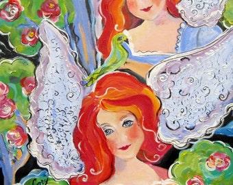 Angels Original Painting 18 x 24 canvas art Art by Elaine Cory