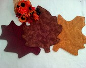 Fall Fabric Leaves ~ set of 3 ~ Autumn leaf ~ Harvest decor ~ Gold Burgandy Brown ~ Fall fabric leaves ~ Table Runner ~ Place Mat ~ Quilted