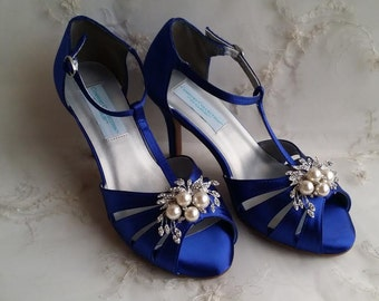 Cobalt Blue Wedding Shoes with pearl and crystal brooch Blue Bridal Shoes Blue Bridesmaid Shoes - Over 100 Color Choices Vegan Wedding Shoes